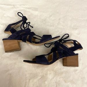 Vince Camuto Navy Heeled Strappy Suede Sandals